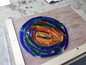 workshop glasbewerken glasfusing Glasatelier Vetro Colorato, neerbeek, limburg, geert hochstenbach, werkstuk, cursus
